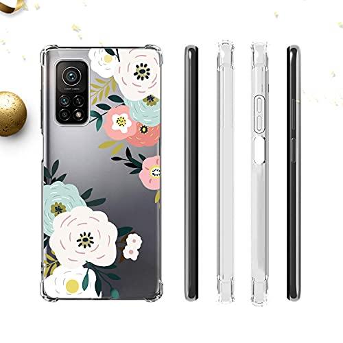 Niboow Funda Compatible con Xiaomi Mi 10T/10T Pro 5G, [con 2 CristalTemplado] Silicona TPU Carcasa, Flores Antichoque Cubierta Protectora Compatible con Xiaomi Mi 10T/10T Pro 5G-Rosa/Azul Cielo