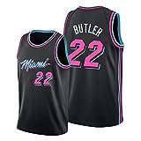 Hombres de Camiseta Miami Heat # 22 de Butler Retro Bordado Jersey, Transpirables Mangas Ropa del En...