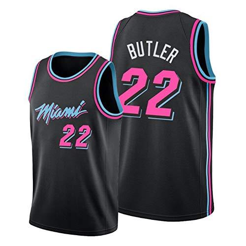 Hombres de Camiseta Miami Heat # 22 de Butler Retro Bordado Jersey, Transpirables Mangas Ropa del Entrenamiento del Chaleco Tapas de Aficionados para el Baloncesto,Negro,L
