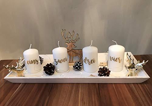 Adventstablett, Advent, Tischdeko, Dekoration Weihnachten, Deko, Tablett, Hirsch, gold, Lichterkette, Adventskranz, Holz weiß