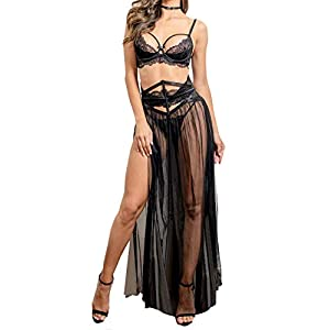 Women Sexy Lace Lingerie Set,Bra and Corset Long Sheer Lace Dress Nightgown with G-String 4 Piece Lingerie Set