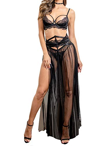 Women Sexy Lace Lingerie Set,Lace Bra and Corset Long Sheer Lace Dress Nightgown with G-String 4 Piece Lingerie Set Black 36D