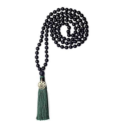 coai Unisex Handgeknüpft 108 Mala Yoga Kette Buddhistische Halskette Gebetskette aus Matt Onyx mit Quaste und Namaste Charm
