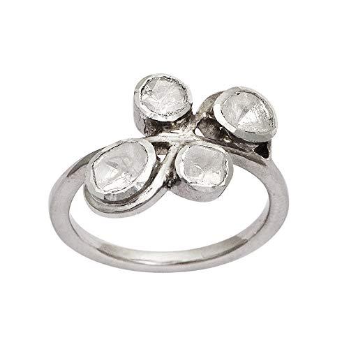 0.50 CTW Anillo Art Deco de diamantes naturales Polki | Plata de ley 925 Slver | Anillo de diamantes Polki | Chapado en platino | Anillo de mujer de declaración (26)