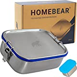 HOMEBEAR® Edelstahl Brotdose | Lunchbox für Kinder | 800 ml | Set mit Box für Dips 65 ml | Verschiebbare...