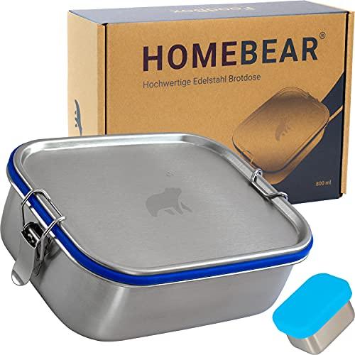 HOMEBEAR® Edelstahl Brotdose | Lunchbox für Kinder | 800 ml | Set mit Box für Dips 65 ml | Verschiebbare Trennwand | Auslaufsicher und Plastikfrei | Brotbox Jausenbox