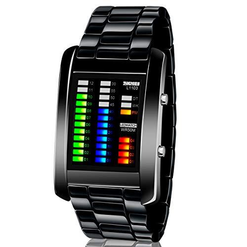 Los hombres de banda de aleación de pantalla de tiempo de reloj binario LED Digital resistente al agua cronómetro Creative deporte ejército relojes de pulsera