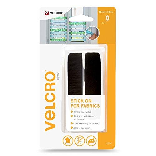 VELCRO Brand VEL-EC60411 Stick On für Textilien-Band 19mm x 60cm schwarz, 19 mm x 60 cm