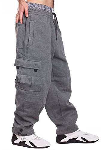 Mens Fleece Cargo Sweatpants, X-Large, Dark Grey