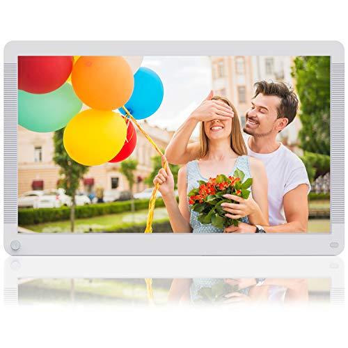 MELCAM Digitaler Bilderrahmen 17 Zoll mit 32GB SD Karte, 1920 * 1080 Hochauflösend 16:9 Bildschirm Video Musik Player mit Kalender/Wecker, Energiesparender Bewegungssensor, Fernbedienung - Weiß