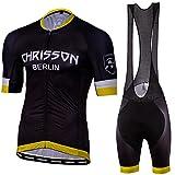 CHRISSON Essential - Conjunto de maillot de ciclismo para hombre, camiseta de manga corta y pantalón corto con acolchado de gel, transpirable y de secado rápido, camiseta de ciclismo con cremallera