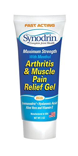 Synodrin Arthritis & Muscle Gel Cream with Hyaluronic Acid, Menthol & Vitamin E - Helps Relieve Arthritis Muscle & Joint Pain