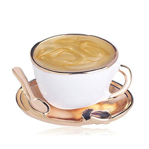 TOOGOO Kaffee Tasse L?ffel Disc Brosche Wei?e Emaille Gold Brosche Damen Herren Kleidung Jacken Anzug
