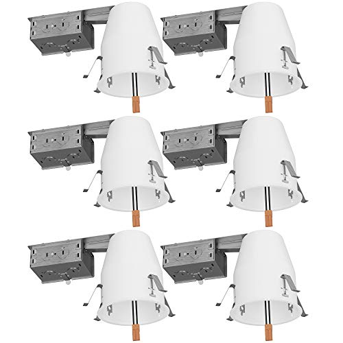 Sunco Lighting 6 Pack of 4' inch Remodel LED Can Air Tight IC Housing LED Recessed Lighting- UL...