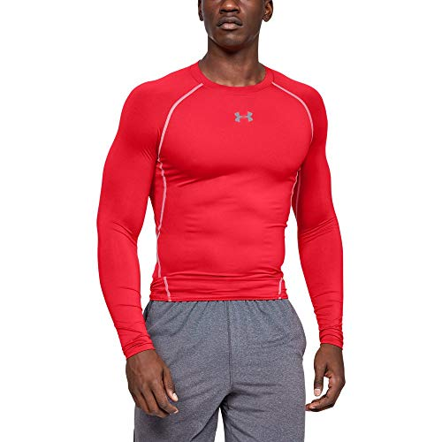 Under Armour UA Heatgear Long Sleeve Camiseta De Manga Larga, Hombre, Rojo (Red/Steel 600), S
