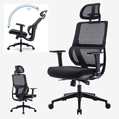 CENPEN Silla de oficina ergonómica, reposacabezas de ajuste estereoscópico/apoyabrazos 125° reclinación ajustable eficiente trabajo silla de trabajo giratoria - Estudio/juego