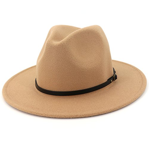 Lisianthus Women Wide Brim Wool Fedora Panama Hat with Belt Buckle A-Camel