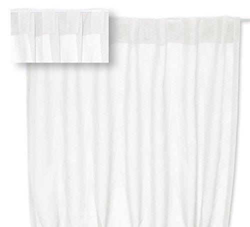 Voile Dekoschal Organza Gardine verdeckte Schlaufen Vorhang transparent Struktur ca. 140x245 cm #1220 (weiß)