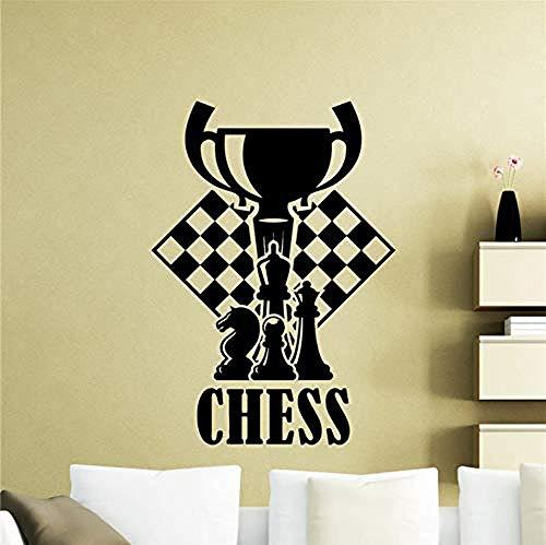 Pegatina Calcomanía de ajedrez Piezas de ajedrez Etiqueta de la pared Chessmen Mural Inicio Sala de estar Interior Impermeable Cualquier habitación Etiqueta de vinilo 58x82cm Vinilo adhesivo de pvc l