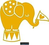 CLICKANDPRINT Aufkleber » Babyelefant, 70x60,7cm, Signalgelb • Wandtattoo / Wandaufkleber / Wandsticker / Wanddeko / Vinyl