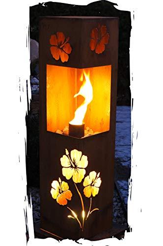 Feuersäule Hibiskus Edelrost Rost Metall Gartendeko Garten Stele Fackel Feuer Säule