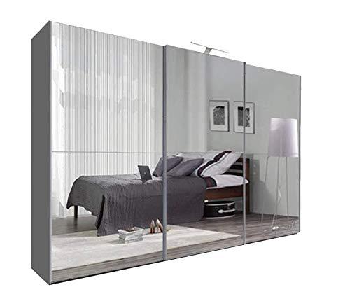 Texas Modern Full Mirror sliding door Bedroom wardrobe with LED Light Width 100cm/120cm/150cm/180cm/203cm/250cm(Grey, 250CM)