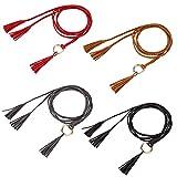MoonSing Cadena de Cintura de Anillo Tejida a Mano para Mujer, étnico Cintura de Niña Cadena de Cuero Borla Cinturón Cuerda para Vestir Camisa de Abrigo (4pcs)