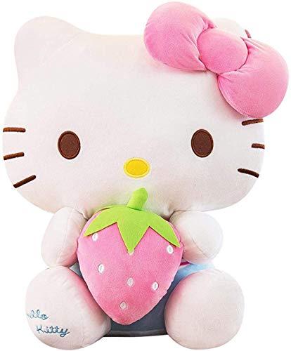 XYBHD Hello Kitty Hand Warmer Tarif Oreiller Peluche Peluche Hello Kitty Poupée Jolie Poupée Poupée Ragdoll Femelle Girlfriends Holiday Anniversaire Cadeau Fluorescent Green 33cm-20cm_Fraise
