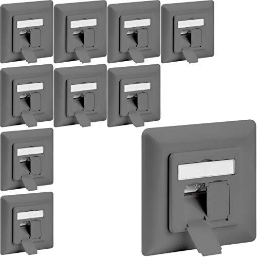 1aTTack.de netwerkcontactdoos, inbouwdoos, opbouw, inbouw, cat5 cat5e cat6 cat7 cat8 installatiekabel, aansluitdoos, netwerk, LAN-ethernet 10x Cat6 Netzwerkdose UP grau Cat 6 (Grau) Unterputz