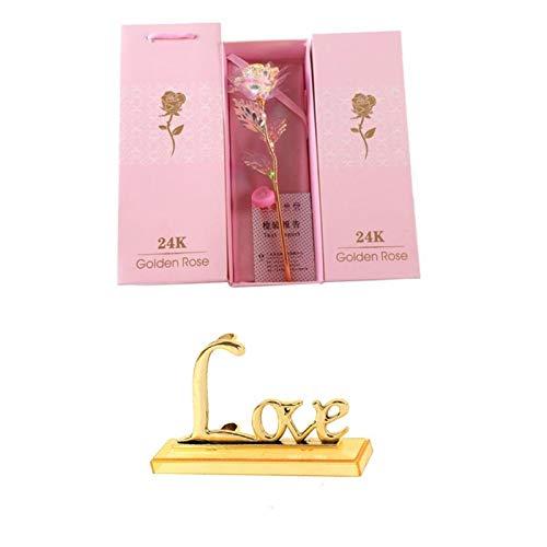 Valentinstag kreative Geschenk-24K Folie Gold Rose Lasts Forever Love Hochzeitsdeko Liebhaber Beleuchtung Rose (Farbe : Light line with Base)