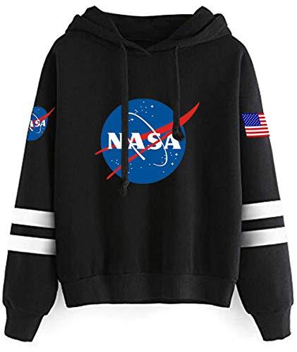 Haosheng Donna Felpa NASA Stampato Galaxy Planet Manica Lunga Sweatshirt Adatto per Gli Appassionati di Spazio(M)