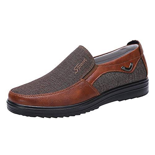 Ansenesna Schuhe Herren Business Braun Schwarz Stoff Sohle Elegant Flach Arbeitsschuhe Ohne Schnürsenkel (43, Braun)
