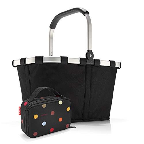 Set carrybag BK, thermocase OY, SBKOY Einkaufskorb mit Kleiner Kühltasche, Black + dots (70037009)