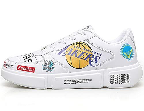 GNEDIAE Herren GNEA77 Low-top Basketball Schuhe Outdoor Anti-Rutsch Sneaker Atmungsaktiv Ausbildung Turnschuhe Sportschuhe Laufeschuhe Verschleißfeste Dämpfung Basketballstiefel Weiß 40 EU