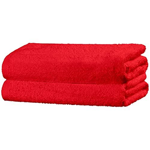 Viste tu hogar Juego de 2 Toallas Hechas 100% de Algodón,50x100 cm, Suaves y Absorbentes, Ideales para Uso Diario y Decoración, en Color Rojo