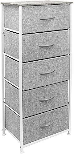 Sorbus Nightstand Dresser with 5 Drawers - Tall Storage Tower Unit Organizer for Bedroom, Hallway, Closet, College Dorm - Chest Drawer for Clothes, Steel Frame, Wood Top, Easy Pull Fabric Bins (Grey)