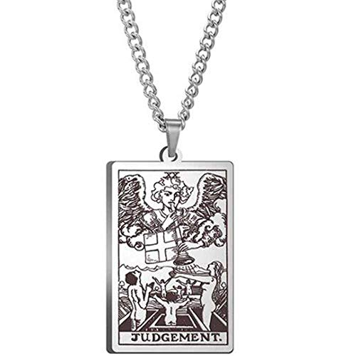 Retro Vintage Stainless Steel Tarot Card Rider Waite Pendant Necklace (Judgement)