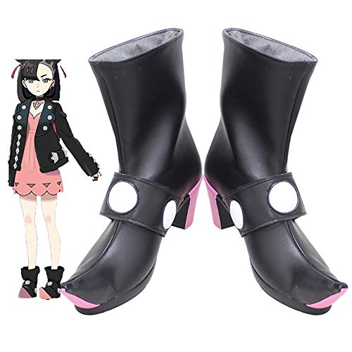 Gowell Pokémon Marnie Cosplay Shoes PU Mid Calf Boot,Male,42