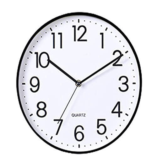 GaoLL Reloj de Pared Negro de Cuarzo silencioso sin tictac de Calidad, Relojes de Pared con Pilas, Redondos de 11 Pulgadas, fáciles de Leer para el hogar, Cocina, Sala de Estar, Dormitorio, Oficina
