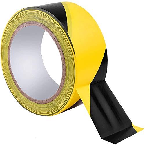 JEMESI Bodenmarkierungsband schwarz&gelb - 60 mm x 33 m Boden Markierungsband Absperrband Sicherheitsband und Sicherheitsmarkierung I Markierungsband, Warnband
