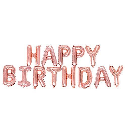 Ponmoo Globos de Happy Birthday Banner - Oro Rosa, Cumpleaños Globos para La Decoración Aniversario Fiesta, Globo de Feliz Cumpleaños Suministros Decoración Globo Party