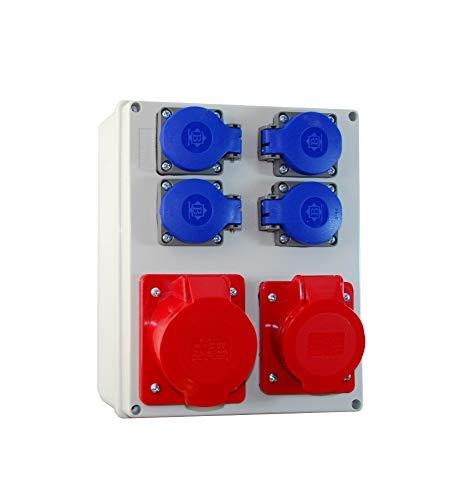 Baustromverteiler/Wandverteiler komplett 4 x 230V/16A + 1 x CEE 16A/400V + 1 x CEE 32A/400V