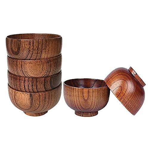 Heritan Juego de 6 cuencos de madera para servir vajilla de arroz, sopa, inmersión, café, té, decoración de ensalada de madera