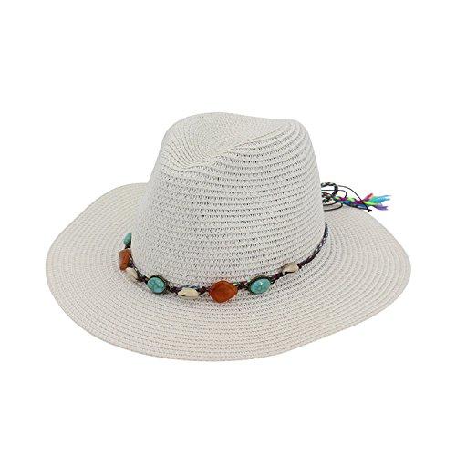 Petalum Sonnenhut Strohhut Damen Herren Breite Krempe Strandhut Sommerhut Sonnenschutz UPF 50 Hat Summer Trilby Panama Hut