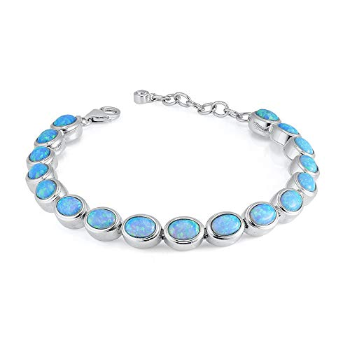 Paul Wright Created Opal Bracelet, 925 Sterling Silver with Vibrant Oval Blue Opals, 6.75' plus 1.25' Extender