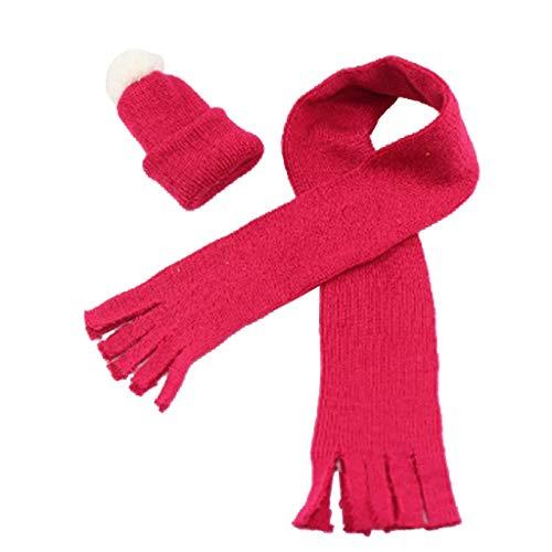 SM SunniMix Gestrickte Puppenschal Puppenmütze Puppenkleidung Puppenkleider, Weihnachten Stil