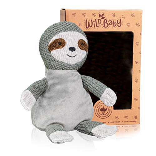 WILD BABY Microwavable Plush Pal - Cozy Heatable Weighted Stuffed Animal with Aromatherapy Lavender Scent, 12' Sloth