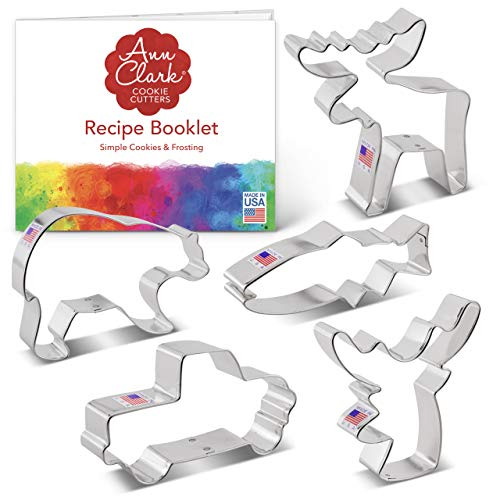 Ann Clark Cookie Cutters 5 Piece Hunting Cookie Cutter Set with Recipe Booklet, Deer Head, Grizzly Bear, Moose, Trout, Vintage Truck