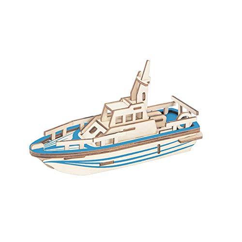 Dreidimensionales 3D-Modell-Puzzle aus Holzpuzzle für Kinder, das Bausteine zusammenfasst, Intelligenz-Puzzle, handgefertigtes dekoratives Ornament-Geschenk-Rettungsboot