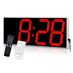 West Ocean Digital LED Wall Clock Large Oversized Display with Wireless Remote Smart Control and Countdown Alarm Multifunction Digital Wall Clock